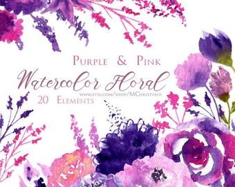 Watercolor Floral Clip Art, Pink and Purple Flowers Clip Art, Hand Painted Clip Art 20 Elements 2 Bouquets 1 Border Instant Download