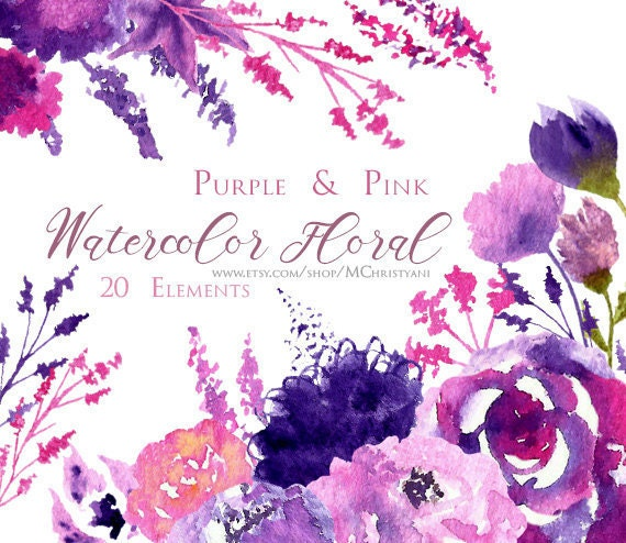 Watercolor Floral Clip Art Pink And Purple Flowers Hand Painted 20 Elements 2 Bouquets 1 Border Instant Download From MChristyani On