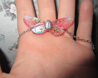 Pink holographic iridescent wings fairy bracelet