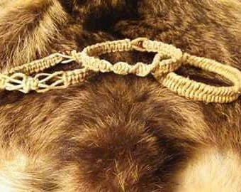 Hemp Tinder Bushcraft Knot Bracelets - Camping Bracelets - Simple Braided Rough Hemp Bracelets - Waterproof Jewelry - Organic Hemp Bracelet