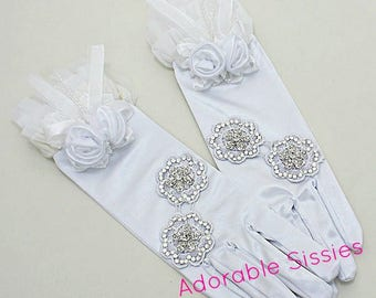 White Vintage inspired spandex stretch  perfect for Sissy Girls and Cross  Dressers  perfect for Sissy Dresses  ABDL  gloves