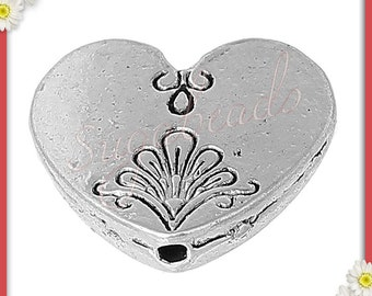 10 Antiqued Silver Heart Beads, Accented Heart Beads 17mm x 15mm
