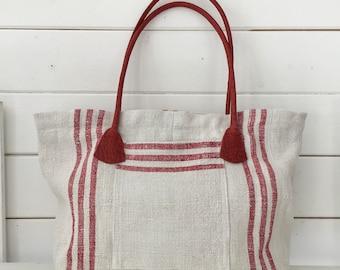 Upcycled Red Striped  Handbag Vintage Hungarian Striped Linen Leather Pockets Organiser Hand Bag