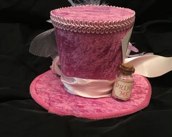 Mad Hatter Alice in wonderland Pink Mini Top Hat Fancy Dress Halloween