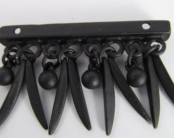 2 Vintage 43mm Spiky Midnight Black Matte Metal Bar Pendant Pd698