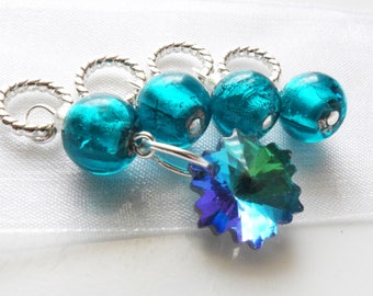 Fragmentary Blue - Four Handmade Stitch Markers - Fits Up To 5.5mm (9 US) - Limited Edition