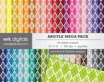 Argyle Mega Pack Seamless Digital Paper Pack, Digital Scrapbooking, Instant Download