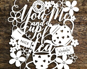 Papercut Template 'You Me and a Cup of Tea' Floral Wall Art PDF JPEG for handcut & SVG for Cutting Machines