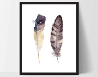 Printable Wall Art, Two Feather Art, Wall Print, Boho Art, Wall Prints, Feather Prints, Printable Art, Printable, Brown White, Watercolor