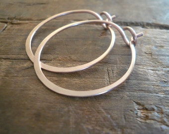14kt Rose Goldfill Hoops - Handmade. Handforged. Your choice of 3 sizes