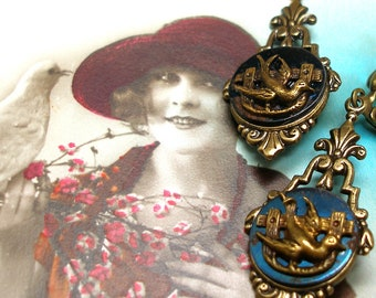 1800s BUTTON earrings, Victorian BIRDS on blue steel. Antique button jewellery.