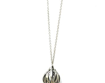 The Fig Necklace - Sterling Silver Long Drop Necklace, 30 inch chain, abstract design pendant, tear drop shape, pear shape,