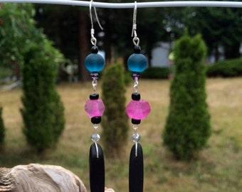 Sea Glass Earrings: Black, Purple and Teal Sea Glass Earrings