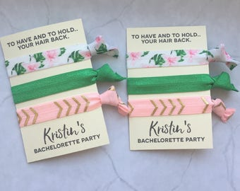 bachelorette party favor hair ties // to have and to hold.. your hair back // PALM LEAF // custom