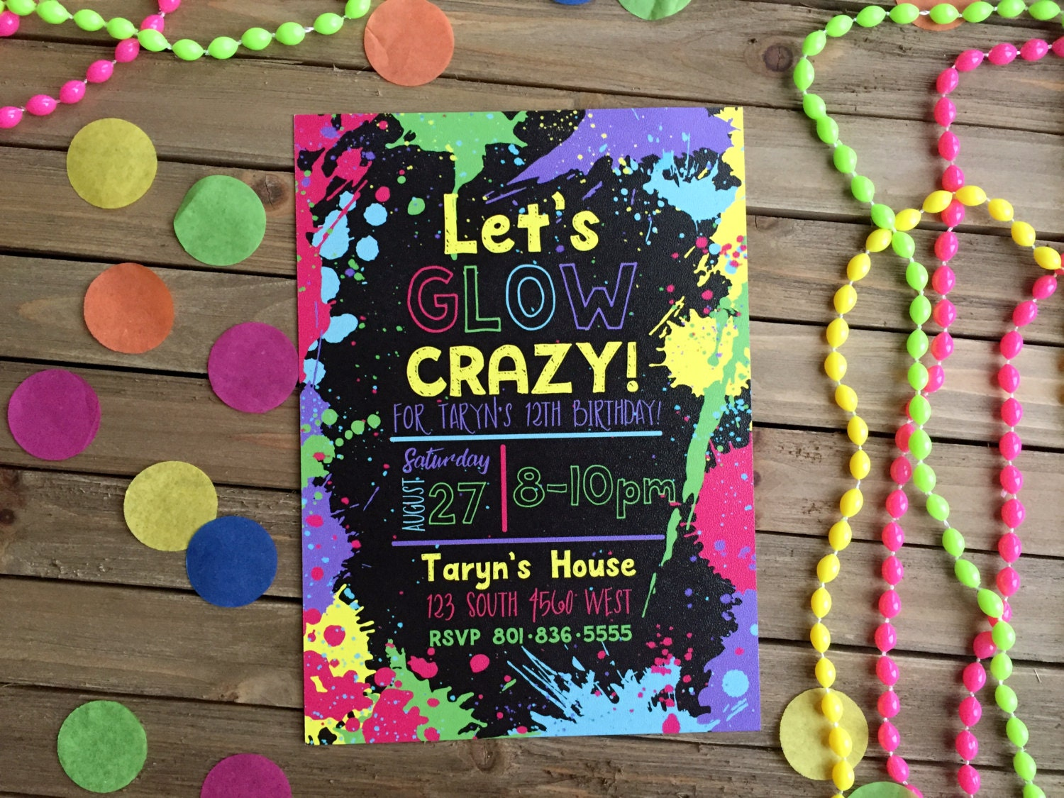 Digital Party Invitation Customizable Neon Party Glowinthe