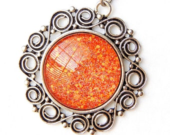 Orange Sun Pendant Necklace; Glitter Nail Polish Jewelry; Silver Sun Necklace; Hand Painted Glass Pendant; Orange Necklace; Sun Jewelry