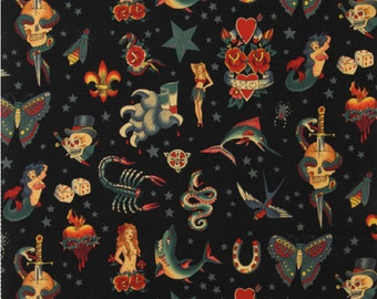 Tattoo in Black, 100% Cotton Fabric by Alexander Henry Fabric - see four colors