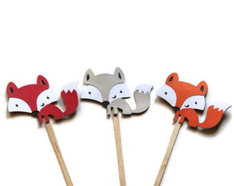 12 Fox Cupcake Toppers, Woodland Party, Fox Baby Shower, Fox Birthday, Gray Fox Topper, Woodland Baby Shower, Fox Party Decor