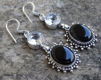 Natural Sterling Silver Black Onyx & White Topaz Earrings - Natural Black Onyx Stone - Handmade earrings Topaz Earrings Black Onyx Earrings