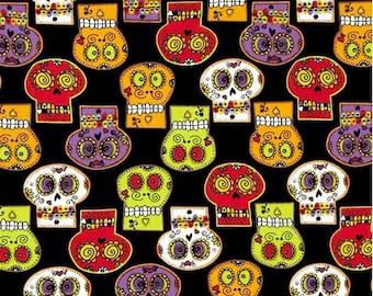 Sugar Skull Fabric By the Half Yard, Fat Quarter, Day of the Dead, Red, Green, Purple, Orange, Candy Skulls, Sugar Skulls