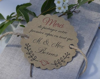 Label - first meal - wedding kraft paper packs of units 10/30/50/80/100/125/150