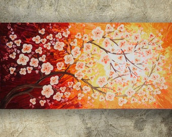 CHERRY BLOSSOMS art SAKURA B73 Tree of love contemporary artwork red orange acrylic painting on canvas by Ksavera gift ideas for her decor