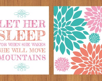 Let Her Sleep For When She Wakes Floral Bloom Baby Girl Nursery Wall Art Coral Pink Teal Set of Two 8x10 Prints (3)