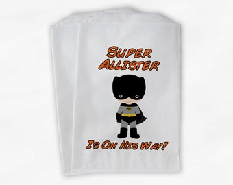 Superhero Baby Shower, Birthday Party Candy Favor Bags - Baby On The Way Custom Treat Bags for Kids - 25 Paper Bags (0036)