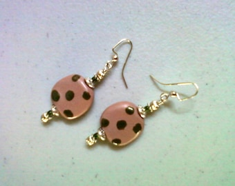 Mauve and Forest Green Kazuri Spotted Earrings (1389)
