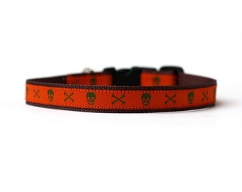 1/2 or 5/8 Inch Wide Dog Collar with Adjustable Buckle or Martingale in Jack in Orange