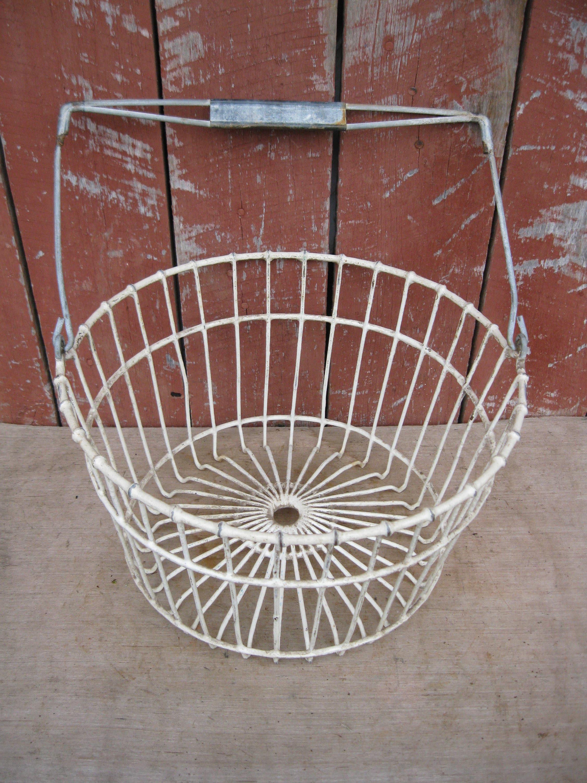 Primitive Vintage Keenoo Wire Egg Basket Old Farm Country