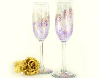 4 CRYSTAL Lavender Roses Hand-Painted Glasses Choice of Stemware - Lavender and Gold Roses, Personalized Champagne Flutes Wine Glasses Gift