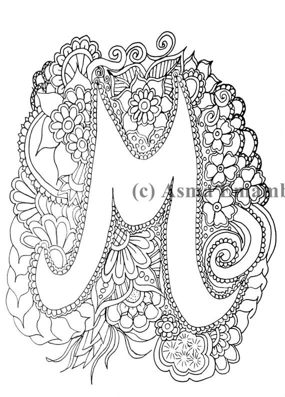 Artículos similares a Imprimibles para colorear página - letra M ...