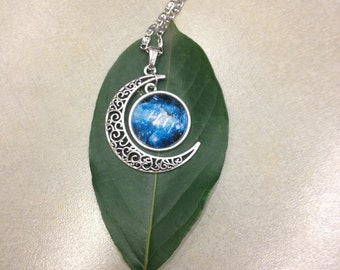 Moon with Blue Galaxy necklace
