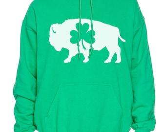 Buffalo NY Standing Bison Irish Shamrock Hooded Sweatshirt Hoodie St. Patricks Day Parade