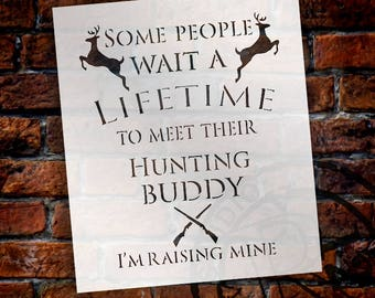Hunting Buddy - Deer & Rifles - Word Art Stencil - Select Size - STCL2173 - by StudioR12
