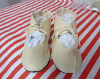 Ivory- Soft Leather look Doll Boots-Vintage Shoes-