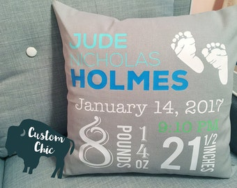 Nursery Decor | Personalized Gift for Nursery | Birth Announcement Pillow | Birth Stats Pillow | Kids Pillow | Baby Feet Personalized PIllow