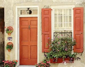 Door/Window Photography- Charleston SC Photo, Burnt Orange Shutters Door, Street Photography, Orange Cream, Door Window Wall Art,