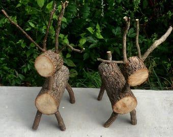 Rustic handmade log deer