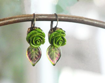 Moss Green Rose Earrings - Resin and Glass