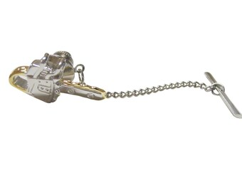 Gold and Silver Toned Chainsaw Tie Tack