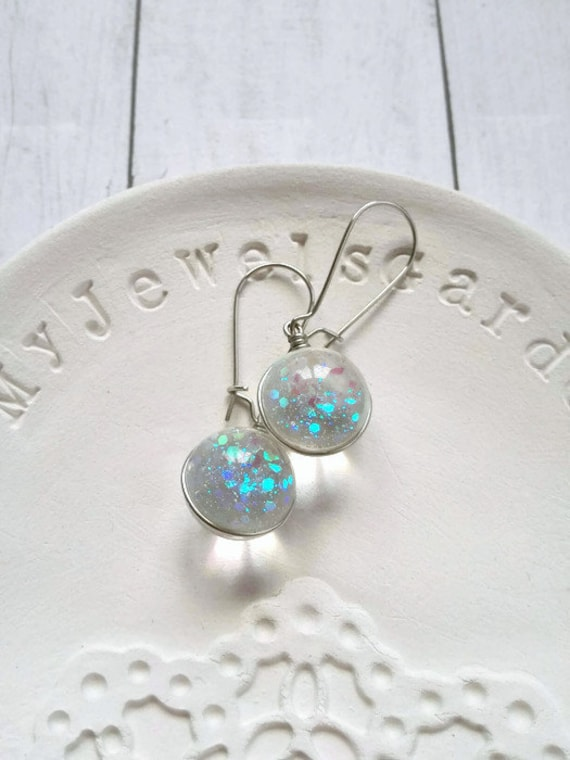 Glass earrings sphere small ball Bling mermaid earring glitter Silver long dangle earrings iridescent Summer jewelry Ocean blue Gift for her