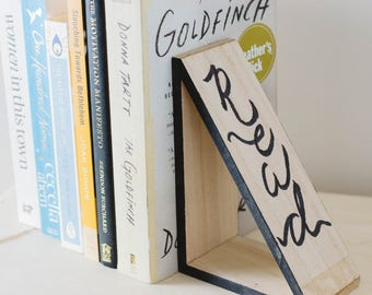 BUNDLE OF 2 Wood Bookends 'Read More' - Modern Wooden Book Ends with Hand-Scripted Quotes