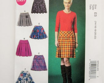 McCall's Easy Sewing Pattern M7022, Misses Pleated of Flared Skirt, Misses Size E5: 14, 16, 18, 20, 22, Uncut 2014