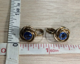 Vintage Amco 1/20th 10k 3.8g Gold Filled Blue Stone Earrings Used