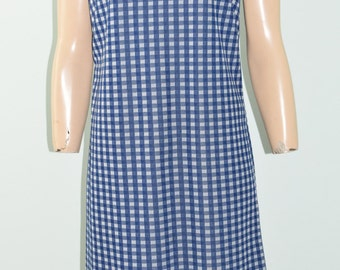 Vintage 60's 70's Mod Blue Plaid Checkered Polyester Shift Dress Size M 8 to 10