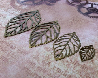 free UK postage 64 mm Large Filigree Leaves Pack of 10