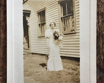 Original Vintage Photograph Blushing Bride