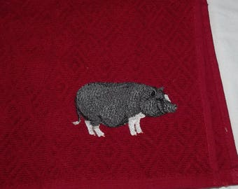 Pig Tea towel, Kitchen Towel, Embroidered Towel, Kitchen Gift